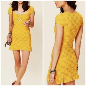 Free People Mustard Yellow Daisy Godet Lace Dress
